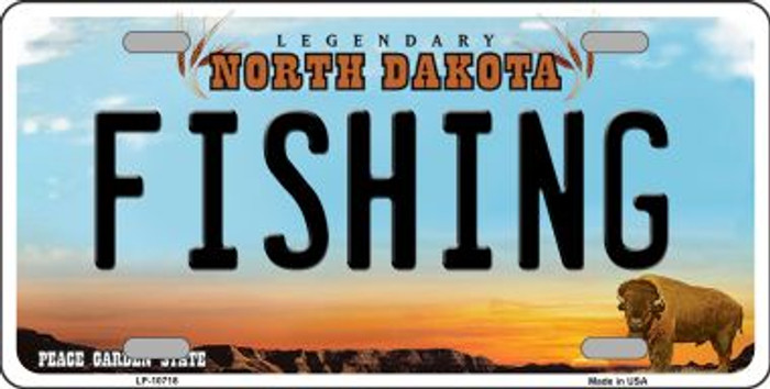 Fishing North Dakota Novelty Metal Vanity License Plate Tag LP-10718