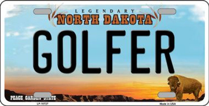 Golfer North Dakota Novelty Metal Vanity License Plate Tag LP-10727
