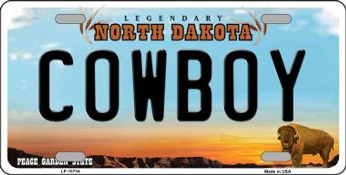 Cowboy North Dakota Novelty Metal Vanity License Plate Tag LP-10734