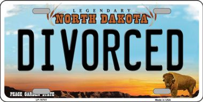Divorced North Dakota Novelty Metal Vanity License Plate Tag LP-10741
