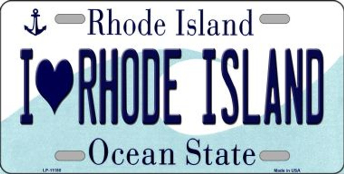 I Love Rhode Island Novelty Metal Vanity License Plate Tag LP-11180