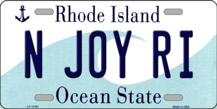 N Joy RI Rhode Island Novelty Metal Vanity License Plate Tag LP-11181