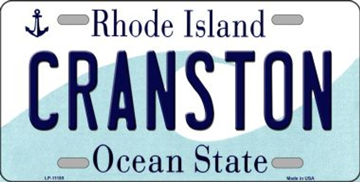 Cranston Rhode Island Novelty Metal Vanity License Plate Tag LP-11185