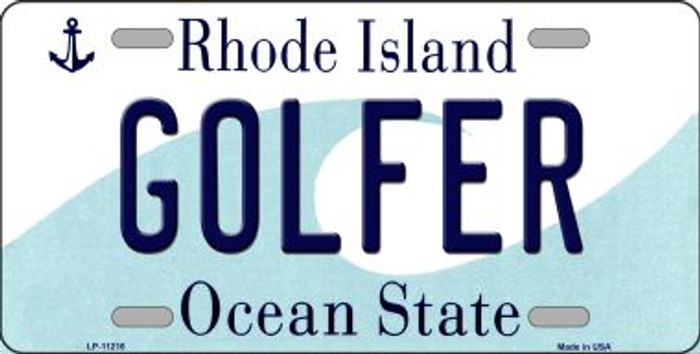 Golfer Rhode Island Novelty Metal Vanity License Plate Tag LP-11216