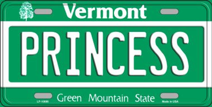 Princess Vermont Novelty Metal Vanity License Plate Tag LP-10686