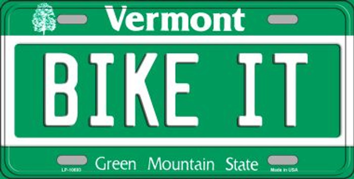 Bike It Vermont Novelty Metal Vanity License Plate Tag LP-10693