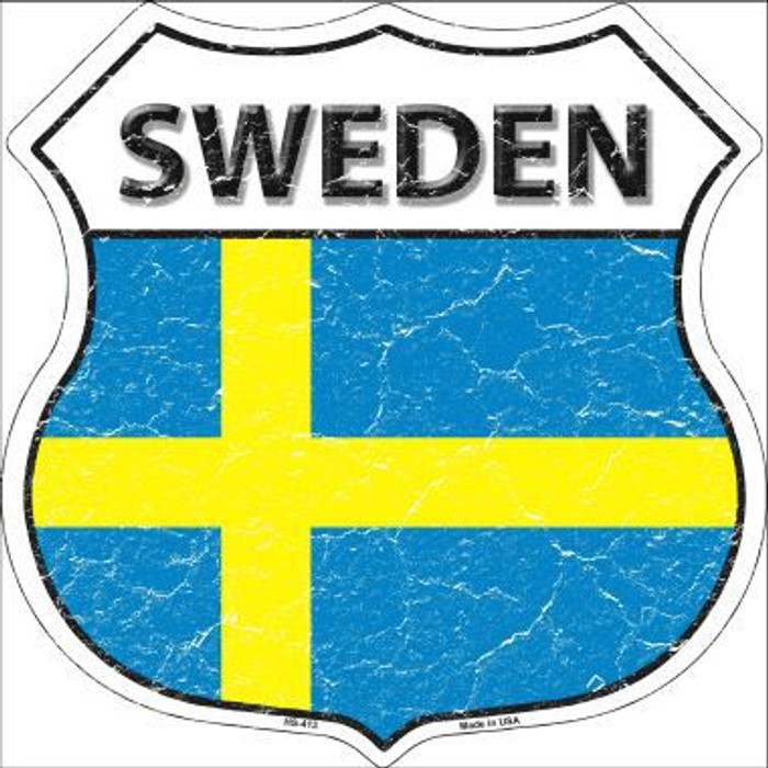 Sweden Country Flag Highway Shield Metal Sign