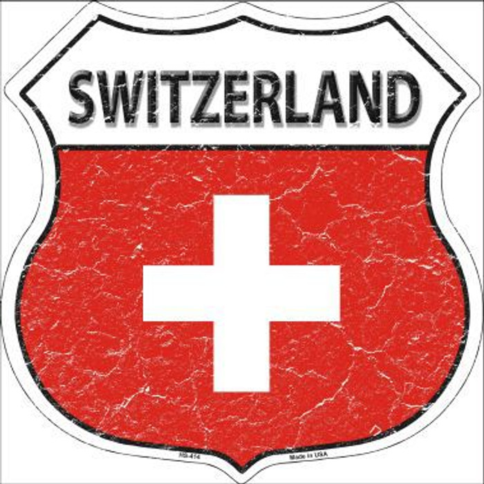 Switzerland Country Flag Highway Shield Metal Sign