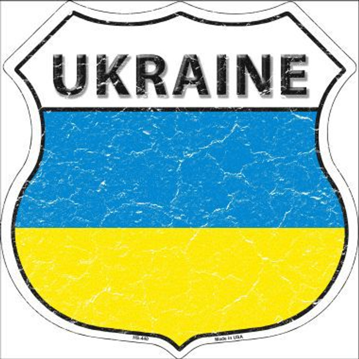 Ukraine Country Flag Highway Shield Metal Sign
