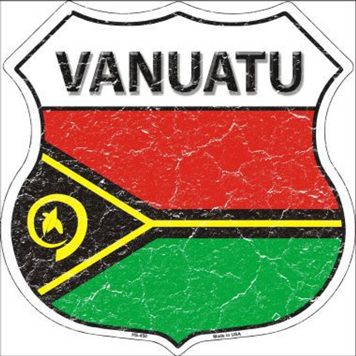 Vanuatu Country Flag Highway Shield Metal Sign