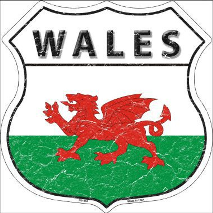 Wales Country Flag Highway Shield Metal Sign