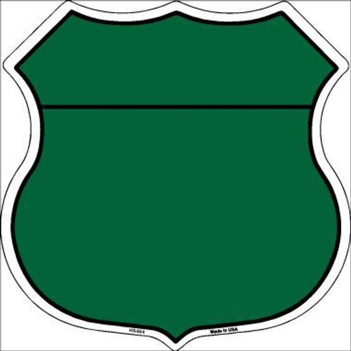 Green|Black Plain Highway Shield Metal Sign
