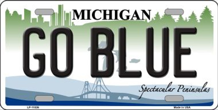 Go Blue Michigan Novelty Metal License Plate Tag LP-11026