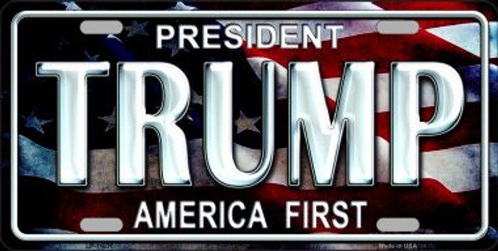 Trump America First Novelty Metal License Plate Tag LP-11031
