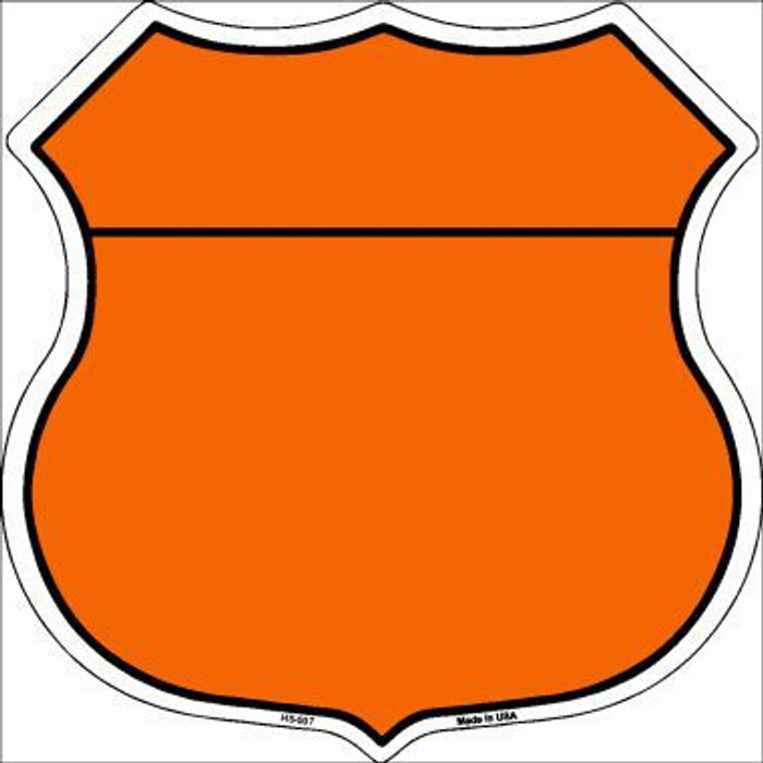 Orange|Black Plain Highway Shield Metal Sign