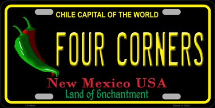 Four Corners Black New Mexico Novelty Metal License Plate LP-6664