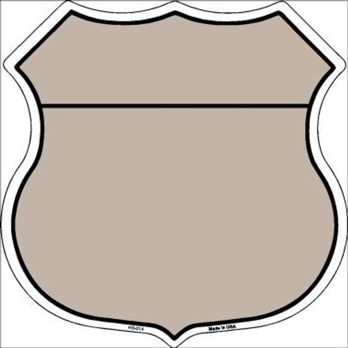 Tan Black Plain Highway Shield Metal Sign