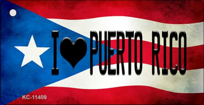 I Love Puerto Rico Puerto Rico State Flag Novelty Metal Key Chain KC-11409