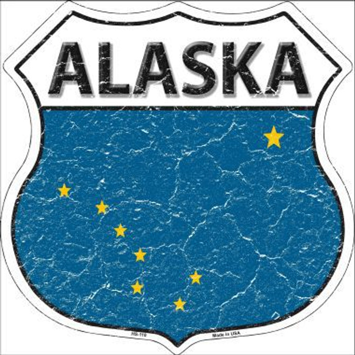 Alaska State Flag Highway Shield Metal Sign