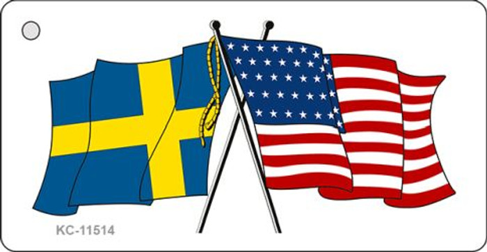 Sweden Crossed US Flag Novelty Metal Key Chain KC-11514