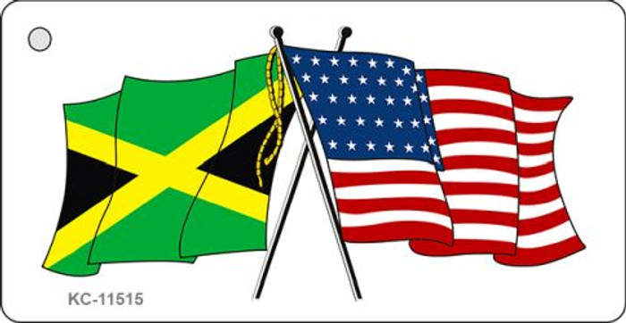 Jamaica Crossed US Flag Novelty Metal Key Chain KC-11515
