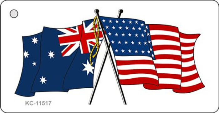 Australia Crossed US Flag Novelty Metal Key Chain KC-11517