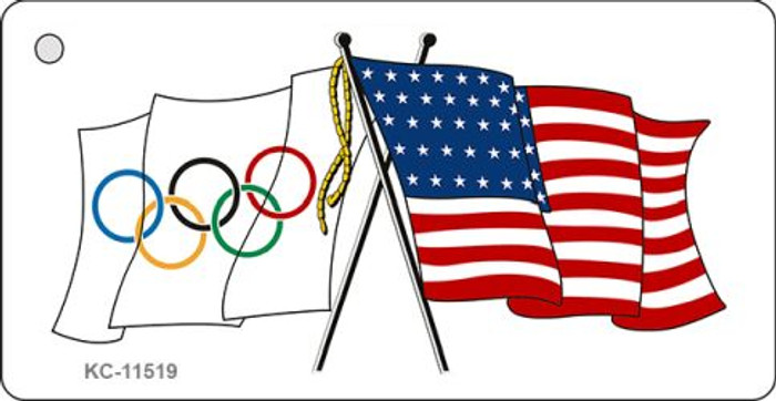Olympic Crossed US Flag Novelty Metal Key Chain KC-11519