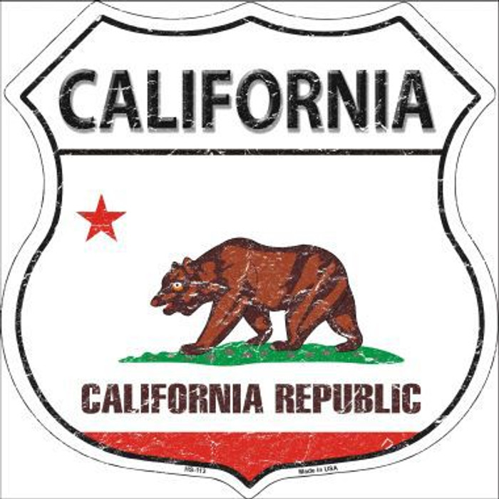 California State Flag Highway Shield Metal Sign