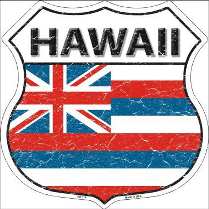 Hawaii State Flag Highway Shield Metal Sign
