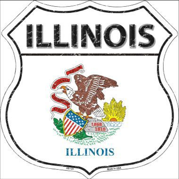 Illinois State Flag Highway Shield Metal Sign