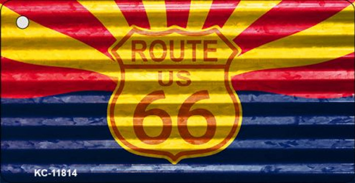 Arizona Route 66 Corrugated Novelty Metal Key Chain KC-11814