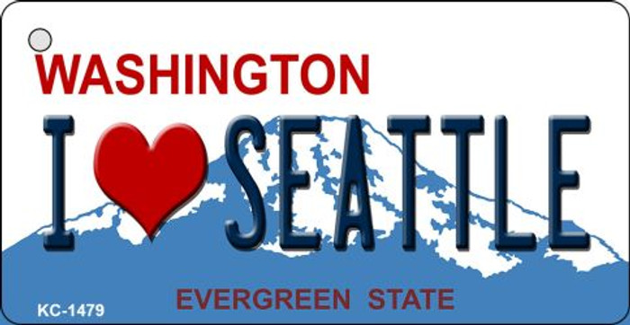 I Love Seattle Washington State License Plate Novelty Metal Key Chain KC-1479