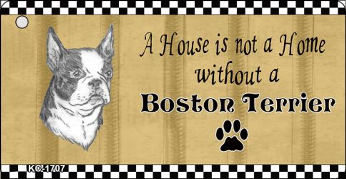 Boston Terrier Pencil Sketch Novelty Metal Key Chain KC-1707