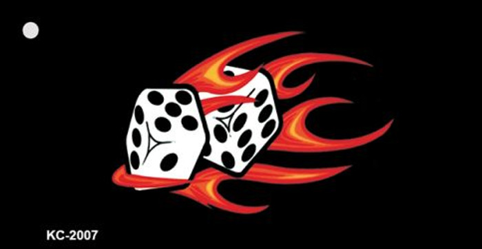 Red Hot Flaming Dice Novelty Metal Key Chain KC-2007