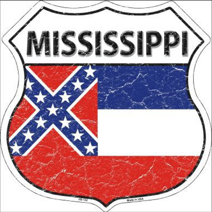 Mississippi State Flag Highway Shield Metal Sign
