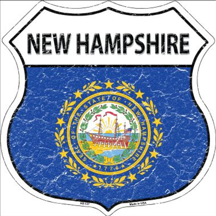 New Hampshire State Flag Highway Shield Metal Sign