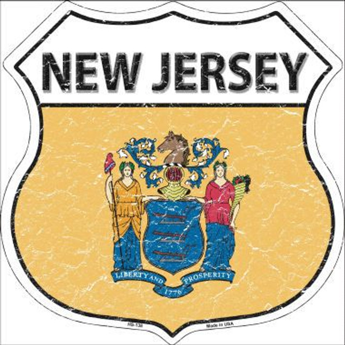 New Jersey State Flag Highway Shield Metal Sign