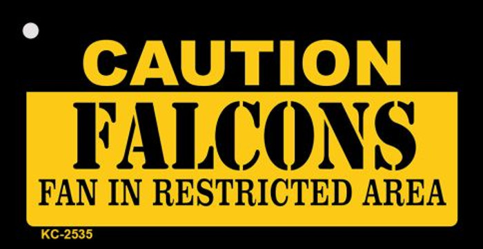 Caution Falcons Fan Area Novelty Metal Key Chain KC-2535