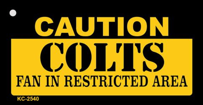 Caution Colts Fan Area Novelty Metal Key Chain KC-2540