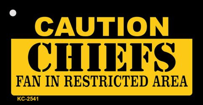 Caution Chiefs Fan Area Novelty Metal Key Chain KC-2541