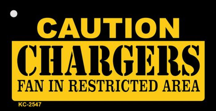 Caution Chargers Fan Area Novelty Metal Key Chain KC-2547