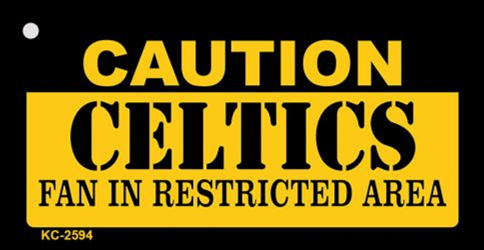 Caution Celtics Fan Area Novelty Metal Key Chain KC-2594