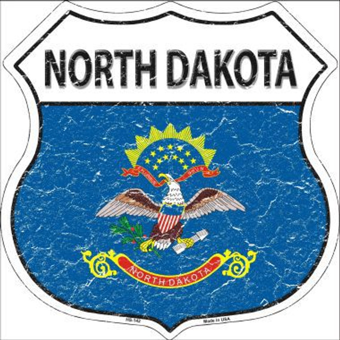 North Dakota State Flag Highway Shield Metal Sign