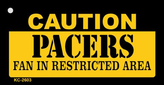 Caution Pacers Fan Area Novelty Metal Key Chain KC-2603