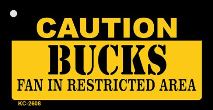 Caution Bucks Fan Area Novelty Metal Key Chain KC-2608