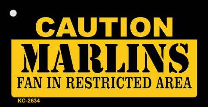 Caution Marlins Fan Area Novelty Metal Key Chain KC-2634