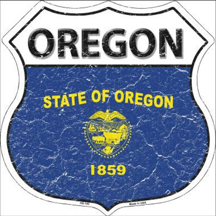 Oregon State Flag Highway Shield Metal Sign