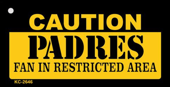 Caution Padres Fan Area Novelty Metal Key Chain KC-2646