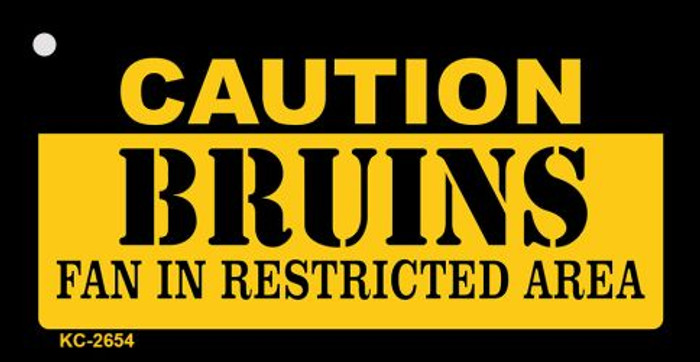 Caution Bruins Fan Area Novelty Metal Key Chain KC-2654