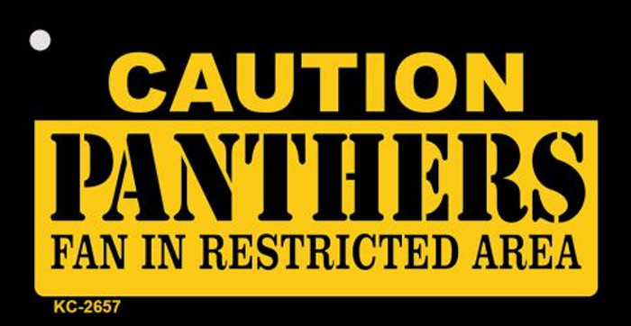 Caution Panthers Fan Area Novelty Metal Key Chain KC-2657